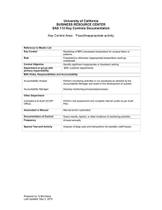 University of California BUSINESS RESOURCE CENTER SAS 112 Key Controls Documentation