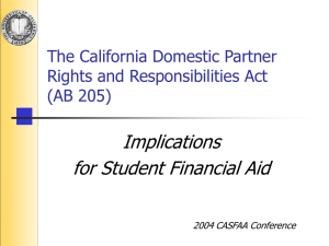 Implications for Student Financial Aid The California Domestic Partner Rights and Responsibilities Act
