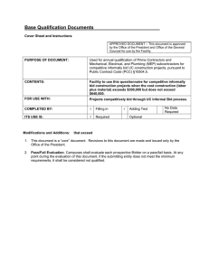 Base Qualification Documents  Cover Sheet and Instructions
