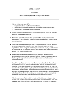 LETTER OF INTENT  GUIDELINES