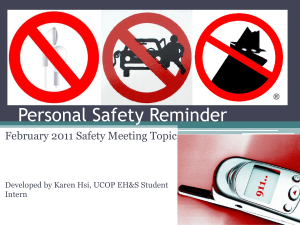 Personal Safety Reminder February 2011 Safety Meeting Topic Intern