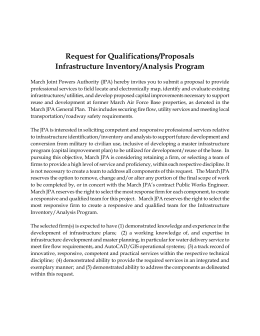 Request for Qualifications/Proposals Infrastructure Inventory/Analysis Program
