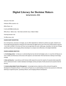 Digital Literacy for Decision Makers  Spring Semester, 2016