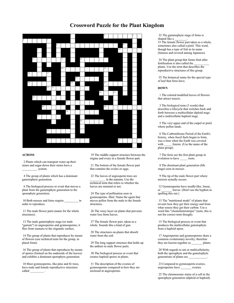 Crossword Puzzle For The Plant Kingdom