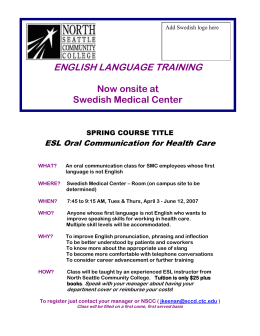 ENGLISH LANGUAGE TRAINING  Now onsite at Swedish Medical Center