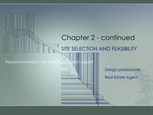Chapter 2 - continued SITE SELECTION AND FEASIBILITY Design professional