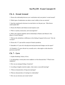 Soc/Psy230 - Exam Concepts #2 Ch. 6 – Sexual Arousal