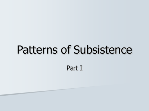 Patterns of Subsistence Part I