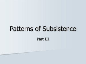 Patterns of Subsistence Part III
