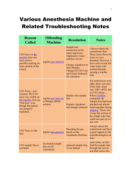 Various Anesthesia Machine and Related Troubleshooting Notes Reason Offending