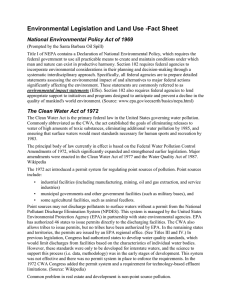 Environmental Legislation and Land Use -Fact Sheet
