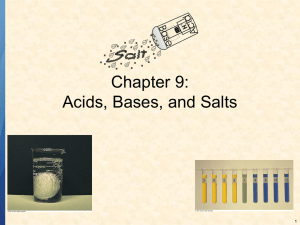 Chapter 9: Acids, Bases, and Salts 1