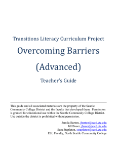 Overcoming Barriers (Advanced) Transitions Literacy Curriculum Project Teacher's Guide