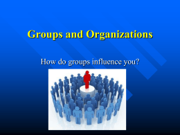 Groups and Organizations How do groups influence you?