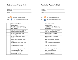 Rubric for Author's Chair