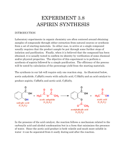 aspirin lab report Free essay: abstract: the goal of this experiment was to synthesize aspirin in this experiment aspirin, also known as acetylsalicylic acid, was synthesized.