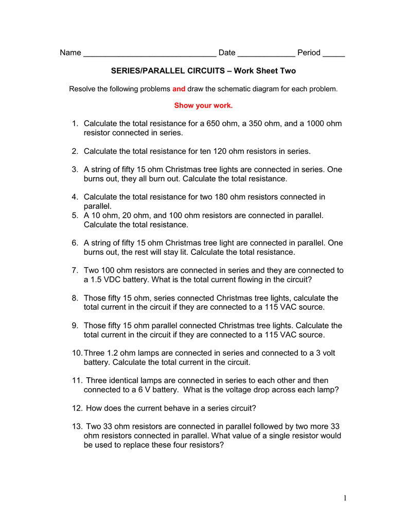 Name Date Period Work Sheet Two – Series Circuit Worksheet