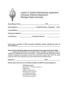 Upsilon Pi Epsilon Membership Application Computer Science Department Michigan State University