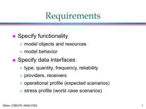Requirements Specify functionality Specify data interfaces
