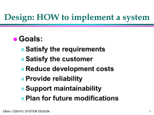 Design: HOW to implement a system Goals: