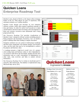 Quicken Loans Enterprise Roadmap Tool CSE 498 9:45 a.m.