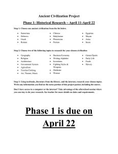 Ancient Civilization Project Phase 1: Historical Research ~ April 11-April 22