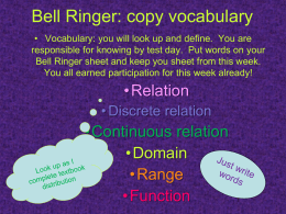 Bell Ringer: copy vocabulary