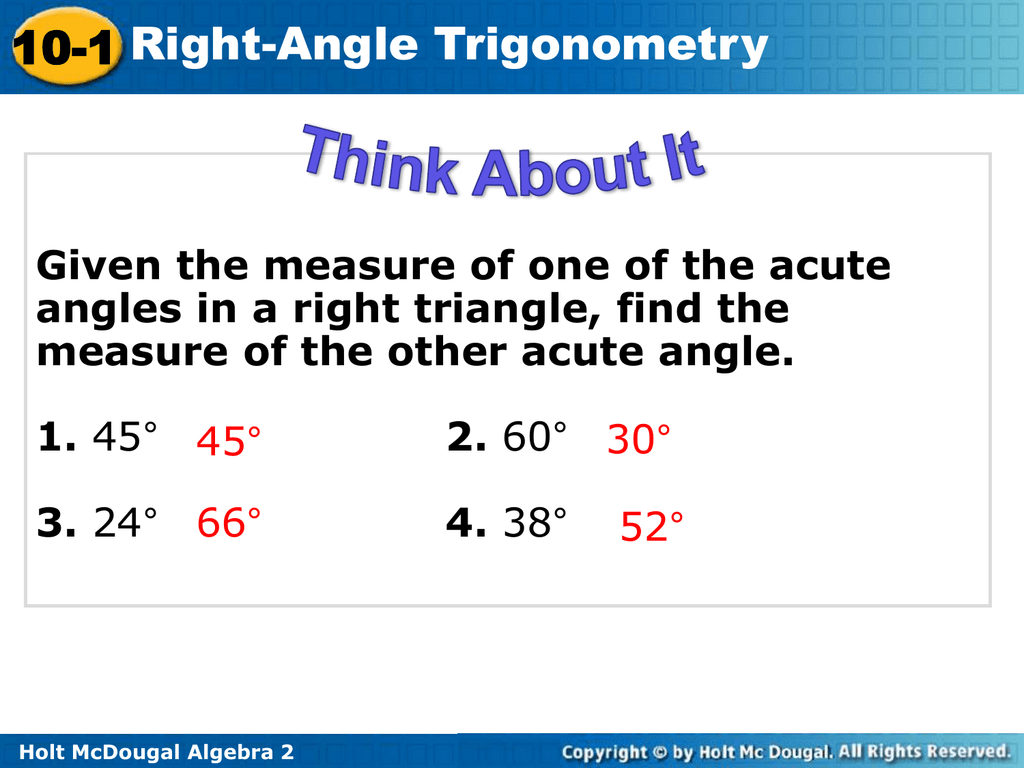 lesson 13-1 problem solving right angle trigonometry answers
