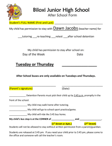 Biloxi Junior High School Dawn Jacobs After School Form