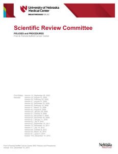 Scientific Review Committee  POLICIES and PROCEDURES Fred & Pamela Buffett Cancer Center