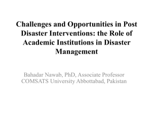 Challenges and Opportunities in Post Disaster Interventions: the Role of