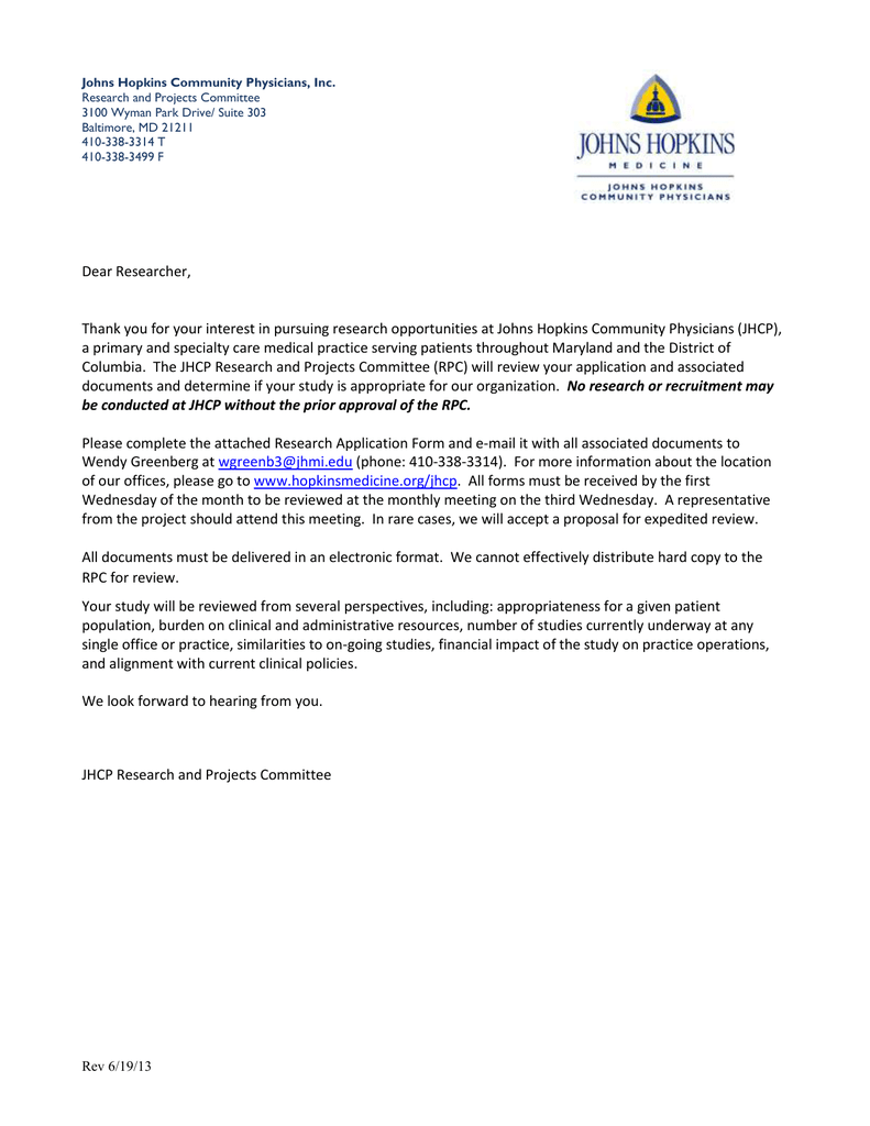 Johns Hopkins Community Physicians, Inc  Research and