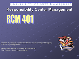 Responsibility Center Management