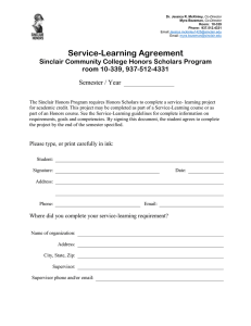 Service-Learning Agreement Sinclair Community College Honors Scholars Program room 10-339, 937-512-4331