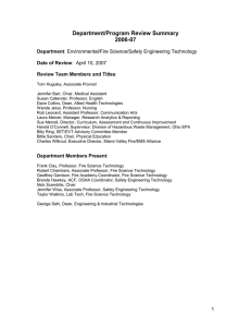 Department/Program Review Summary 2006-07  Department