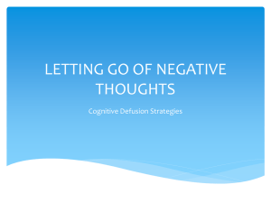 LETTING GO OF NEGATIVE THOUGHTS Cognitive Defusion Strategies