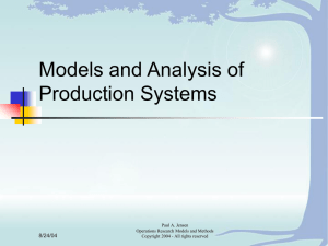 Models and Analysis of Production Systems 8/24/04 Paul A. Jensen