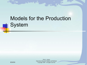 Models for the Production System 8/24/04 Paul A. Jensen