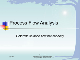 Process Flow Analysis Goldratt: Balance flow not capacity 8/24/04 Paul A. Jensen