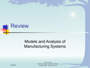 Review Models and Analysis of Manufacturing Systems 8/24/04