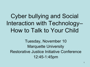 Cyber bullying and Social – Interaction with Technology