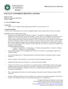FACULTY CONGRESS MEETING AGENDA  M F