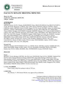 FACULTY SENATE MEETING MINUTES M F