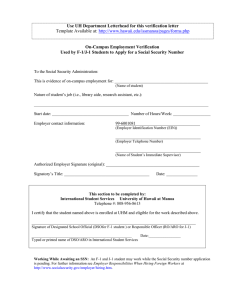 Use UH Department Letterhead for this verification letter On-Campus Employment Verification