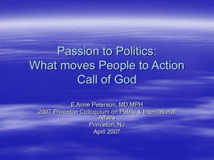 Passion to Politics: What moves People to Action Call of God