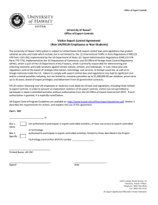 Visitor Export Control Agreement (Non UH/RCUH Employees or Non-Students) University of Hawai'i