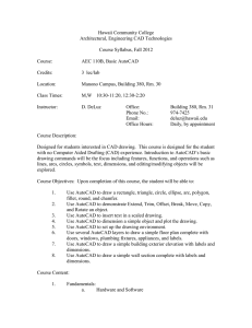 Hawaii Community College Architectural, Engineering CAD Technologies  Course Syllabus, Fall 2012