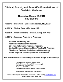 Clinical, Social, and Scientific Foundations of Geriatric Medicine Thursday, March 17, 2016