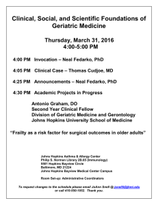 Clinical, Social, and Scientific Foundations of Geriatric Medicine Thursday, March 31, 2016