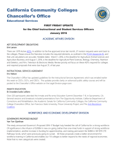 California Community Colleges Chancellor's Office Educational Services ACADEMIC AFFAIRS DIVISION